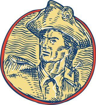 American Patriot Side Circle Etching