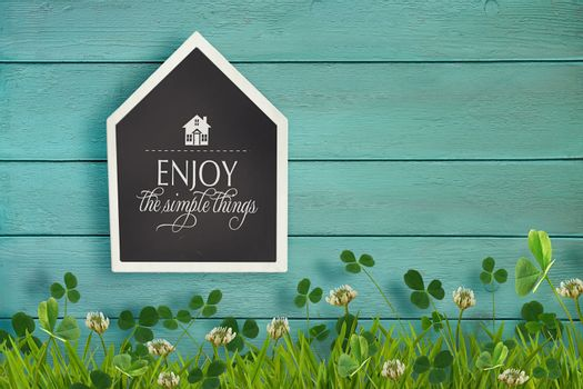 House shaped chalkboard and grass on wood