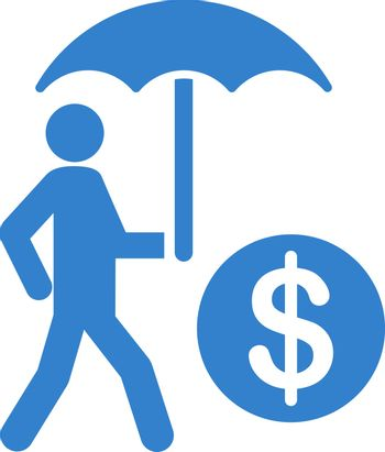 Financial insurance icon from Business Bicolor Set. Vector style is flat symbols, cobalt color, rounded angles, white background.