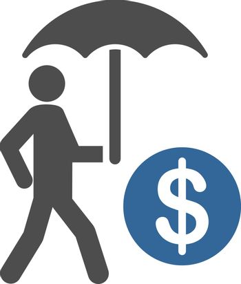 Financial insurance icon from Business Bicolor Set. Vector style is flat bicolor symbols, cobalt and gray colors, rounded angles, white background.