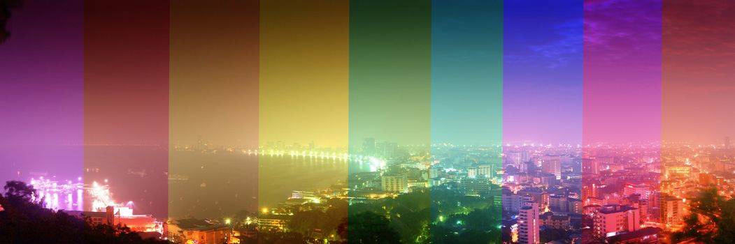Twilight panorama Pattaya one of the most favorite tourist attraction in Thailand