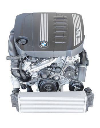Isolated modern powerful flagship model of BMW TwinPower turbo diesel engine