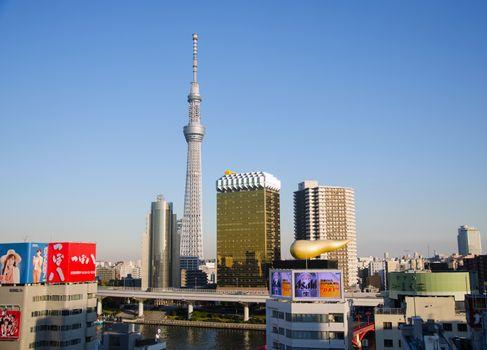 Tokyo, Japan - November 21, 2013:  Landmark buildings including