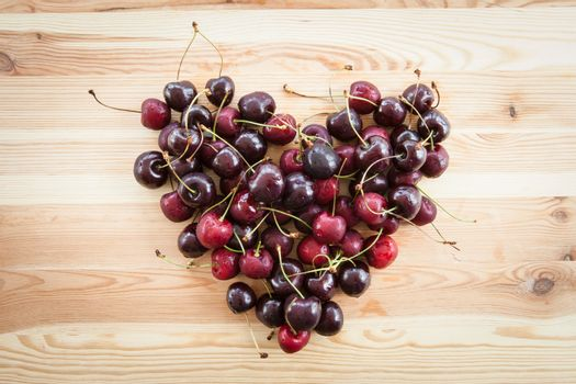 Cherries in heart shape