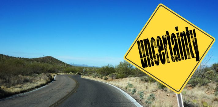 Uncertainty ahead sign
