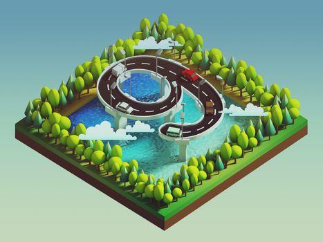 Isometric island transportation