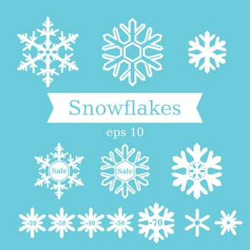Vector set of flat white snowflakes on a blue background.