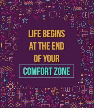 Comfort zone inspiration quote illustration