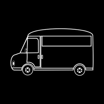 Van for family outings and travel. The logo symbol icon