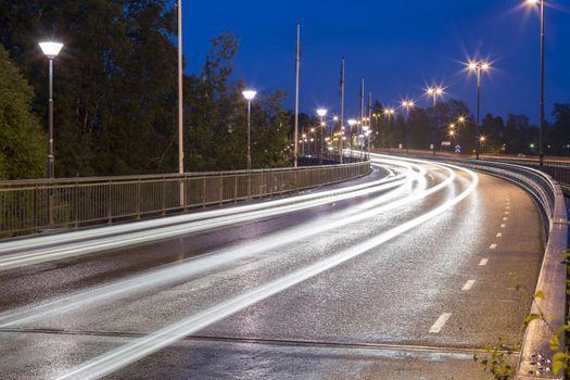 Light Trails on Bridge in Umeå, Sweden