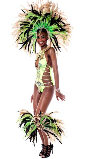 Full length of woman wearing samba costume