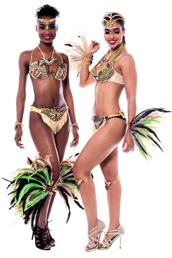 Smiling beautiful women in carnival costume