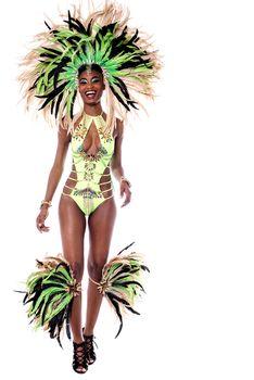 Full length of samba dancer walking forward