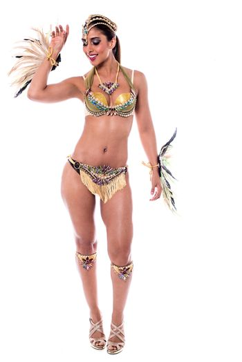 Full length of woman wearing a samba costume