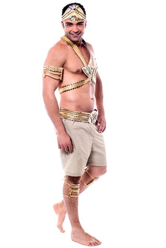 Sideways of male samba dancer posing to camera