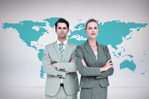 Composite image of business people with arms crossed looking at camera