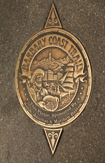 San Francisco, CA, USA - September 25, 2011 : Sign of Barbary Coast Trail in downtown San Francisco, California, USA. Barbary Coast Trail connects the historic site between the 1849 Gold Rush time to the 1906 Earthquake.