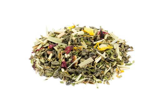Heap of loose green tea rise and grind