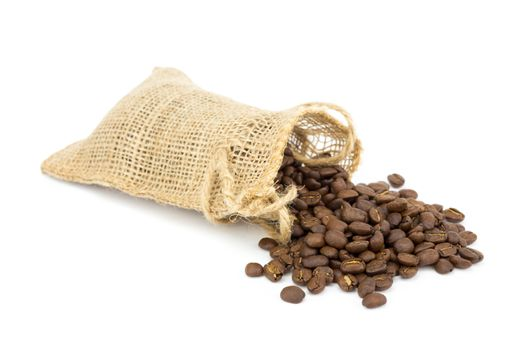 Little sackcloth with coffee beans