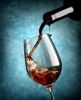 Wine on blue background