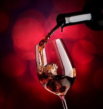 Wine on vinous background