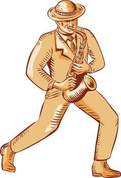 Jazz Player Playing Saxophone Etching