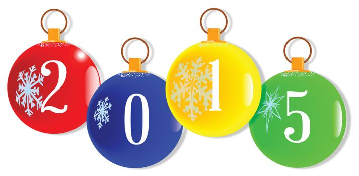 A red christmas decorative ball with the numbers 2015