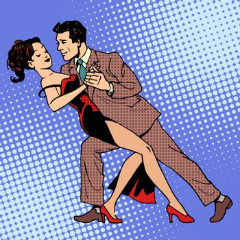 Man and woman dancing a waltz or tango. The art of romance concert