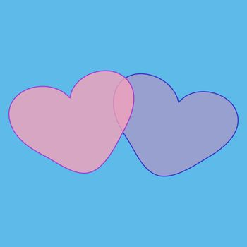 Two hearts love romantic Valentines day romantic background