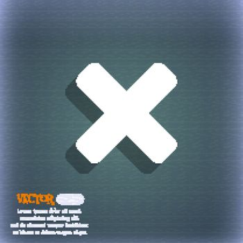 cancel, multiplication  icon symbol on the blue-green abstract background with shadow and space for your text. Vector