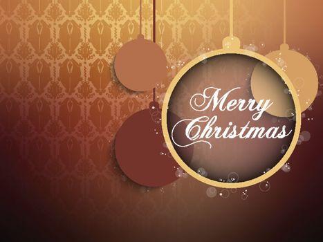 Vector - Merry Christmas Retro Brown Background Ball
