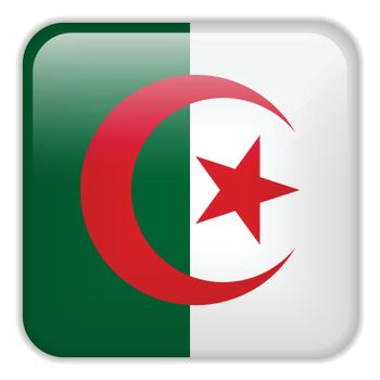 Vector - Algeria Flag Smartphone Application Square Buttons