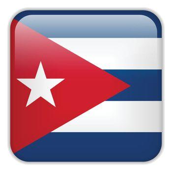Vector - Cuba Flag Smartphone Application Square Buttons