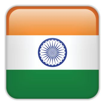 Vector - India Flag Smartphone Application Square Buttons