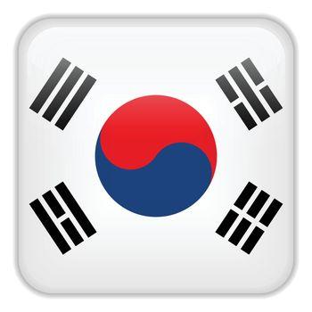 Vector - South Korea Flag Smartphone Application Square Buttons