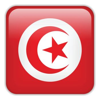 Vector - Tunisia Flag Smartphone Application Square Buttons
