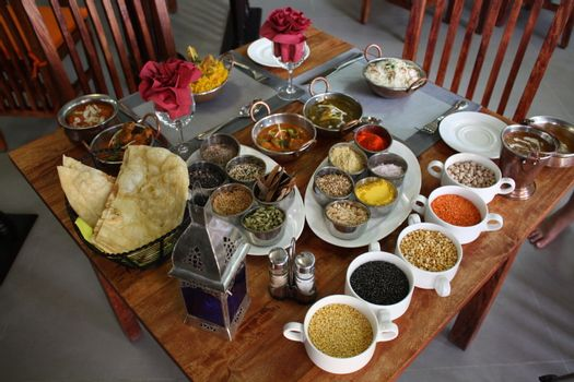 The food cooked at restaurant. Various dishes for every taste and choice.