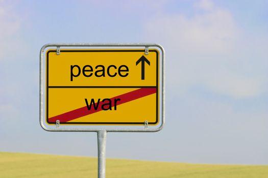 Sign war peace