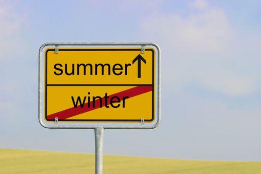 Sign winter summer