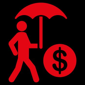 Financial insurance icon from Business Bicolor Set. Collection style is flat symbols, red color, rounded angles, black background.