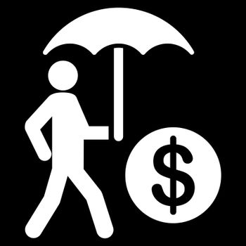 Financial insurance icon from Business Bicolor Set. Collection style is flat symbols, white color, rounded angles, black background.