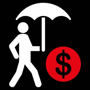 Financial insurance icon from Business Bicolor Set. Collection style is flat bicolor symbols, red and white colors, rounded angles, black background.