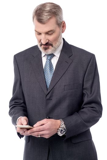 Business man using his android device
