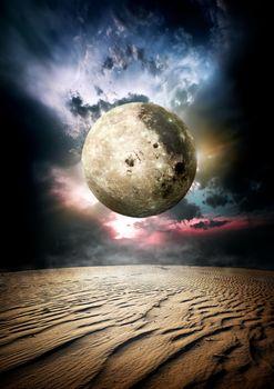 Fool moon in desert