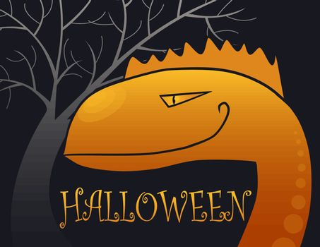 halloween backgrounds with big orange monster in the night