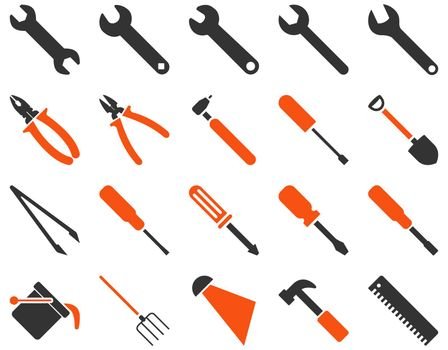 Equipment and Tools Icons. Icon set style is bicolor flat images, orange and gray colors, isolated on a white background.