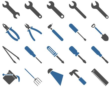 Equipment and Tools Icons. Icon set style is bicolor flat images, cobalt and gray colors, isolated on a white background.