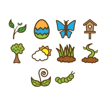 A collection of spring season related stuff icon