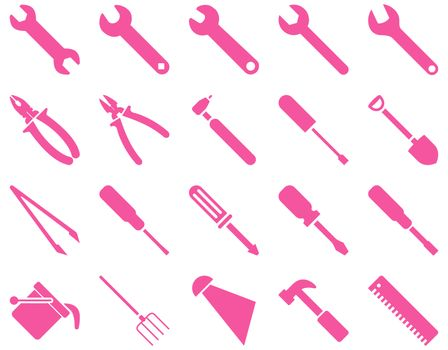 Equipment and Tools Icons. Glyph set style is flat images, pink color, isolated on a white background.