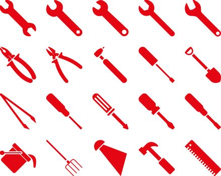 Equipment and Tools Icons. Vector set style is flat images, red color, isolated on a white background.